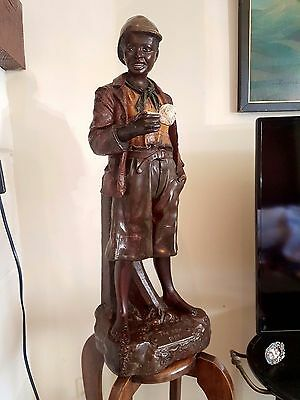 Black American Blackamoor Pipe Tobacco Jar Antique Era Goldscheider Boy Statue