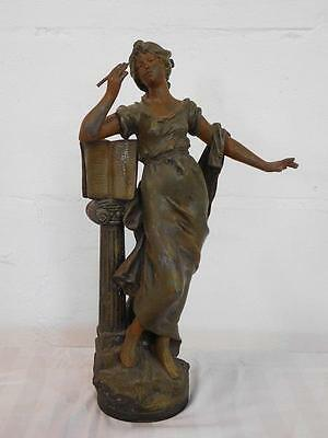 A Lovely Antique Art Nouveau Spelter Figure Of A Lady