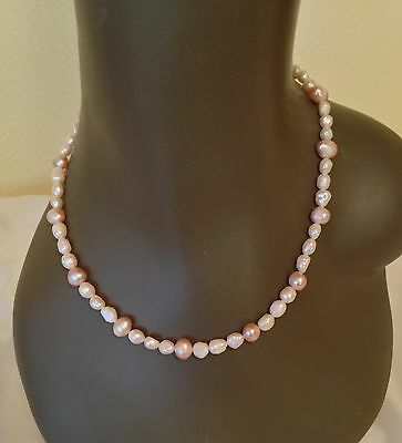 FRESH WATER CULTURED PEARL NECKLACE with sterling silver clasp 925