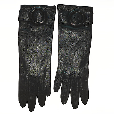 Soft Black Buckle Gloves Made in Western Germany