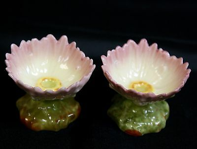 Pair Beautiful Vintage Hand Painted Pottery Flower Shaped Salts / Small Dishes