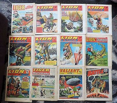 12x Boys Merger Comics 1960's/70's Tiger, TV21, Lion, Battle, Valiant, Eagle etc