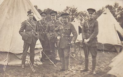 """WW1   """"  Poignant photo of Five Army Officers beside Tents  """"  unused card"""