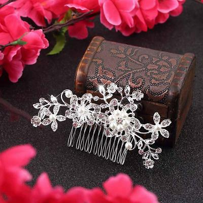Silver Bridal Bridesmaid Wedding Hair Comb Clip Rhinestone Diamante Prom UK