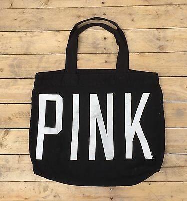 PINK By ViCTORIAS SECRET Tote Bag Black Canvas With Zipper Beach Travel