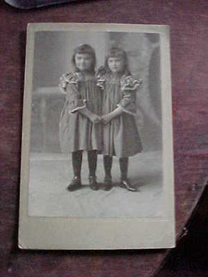 Antique Cabinet Card Photograph 2 Young Girls Holding Hands Frilly Dresses