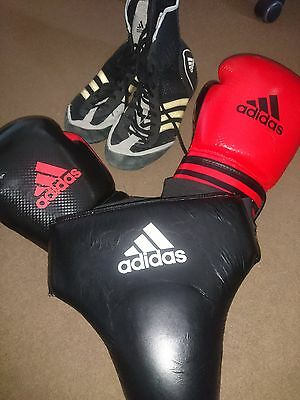 Adidas 16oz Boxing Gloves, Size UK 10 Boots & Groin guard