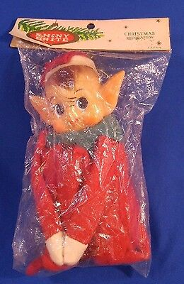 Vtg SHINY BRITE Pixie Knee Hugger Elf PointEar Xmas Decoration Red Japan NEW OS