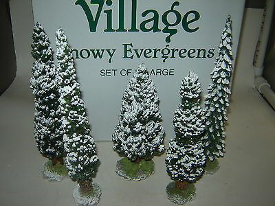 Dept 56 Village Accessory - 5 Large Snowy Evergreen Trees
