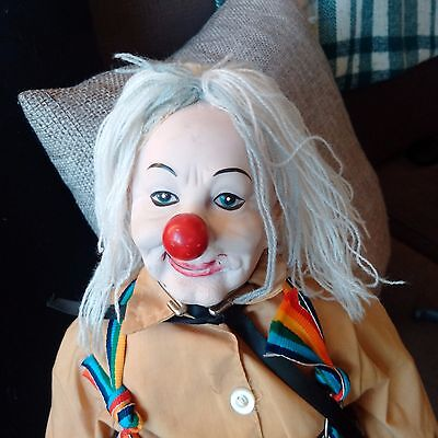 """Vintage/Antique Ceramic Clown on stand around 24"""" tall FREE SHIPPING RARE"""