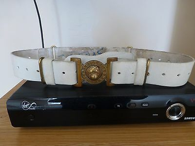 Grenadier Guards White Leather Ceremonial Belt With Brass Buckle British Army