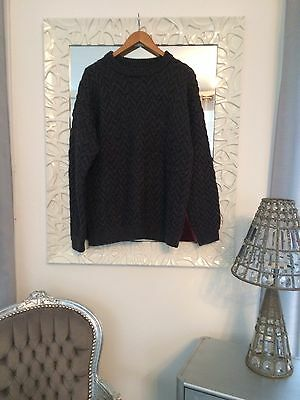 Gros Pull Homme Taille XL Torsades Gris Anthracite