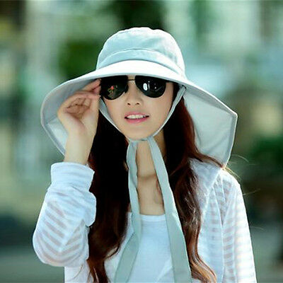 Woman Light Gray Washable Outdoor Sun Hat Windproof Riding Cap Summer Beach Hat