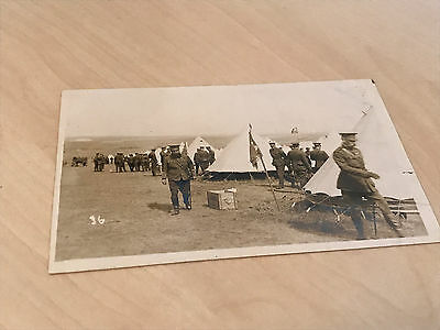 WWI Real Photo Postcard Group of Officers & Soldiers at Camp YMCA & Liptons Tea
