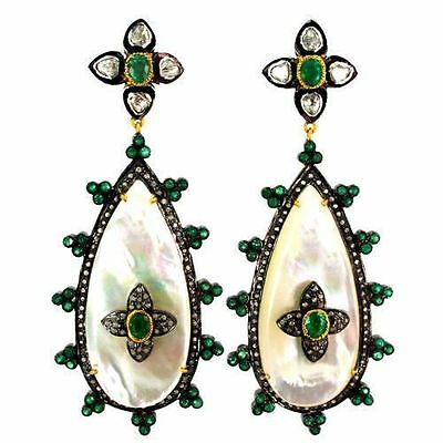 Emerald Mother Of Pearl Earrings Diamond Pave 14K Gold Sterling Silver Jewelry