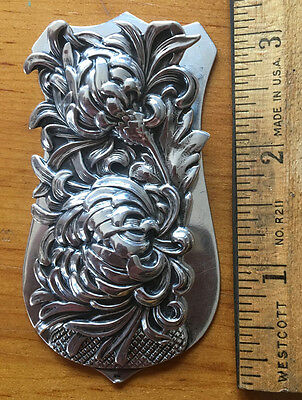 Superb, Large George Shiebler Sterling Silver Floral Chrysanthemum Document Clip