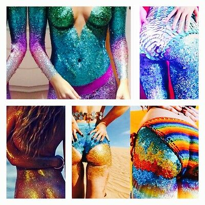 1 Glitter Butts Makeup Sparkly Mermaid Tail Festival Nudist Naughty Pubic Hair B