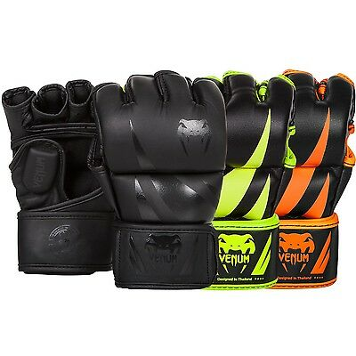 Venum Neon Challenger MMA Gloves Martial Arts Fight Sparring Black Orange Yellow