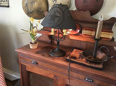 Primitive style black lamp ,,punch tin star shade with four light stems