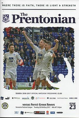 16/17 Tranmere Rovers v Forest Green Rovers (+ Folded Teamsheet)