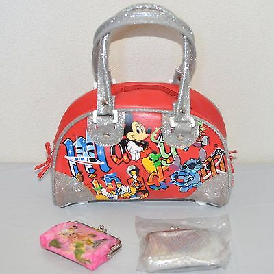 Disney Mickey Mouse Kid's Handbag and Coin Purse 3-Pc LOT  Red/Silver EUC