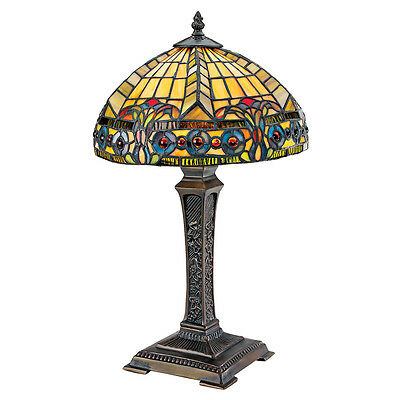 Cabochons & Stained Glass Beaux Arts Period Replica Desk Table Sculptural Lamp