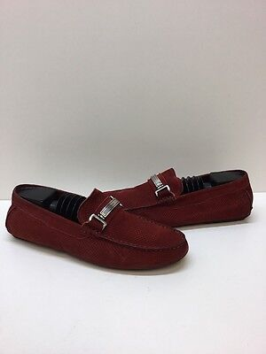 Bally Men's Shoes Red Droteo Loafers Drivers Slip Ons Suede Size 9.5 E