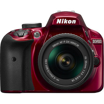 Nikon D3400 DSLR Camera with 18-55mm Lens (Red)!! BRAND NEW!!