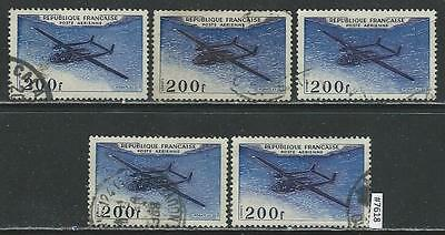 #7618 FRANCE Sc#30 Airmail Used Lot of 5