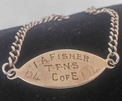 WW1 TFNS CofE ID Tag Bracelet Sterling Silver Territorial Force Nursing Service