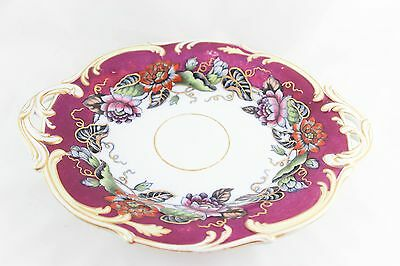 Fab Serving Stand Tazza Antique England Porcelain China Hand Painted Floral Gold