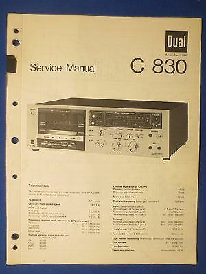 DUAL C830 CASSETTE SERVICE MANUAL ORIGINAL FACTORY ISSUE  THE REAL THING    v2