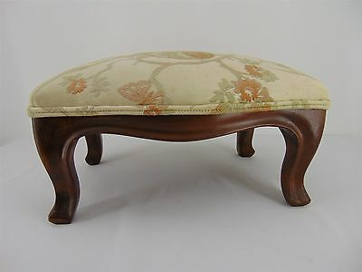 "Small 11x16 VINTAGE Padded Tapestry Upholstery ""Birds"" Ottoman Wood FOOT STOOL"