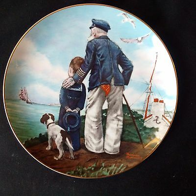 """HMI 1982 Royal Eaton NORMAN ROCKWELL'S """"LOOKING OUT TO SEA"""" 22K gold band plate"""