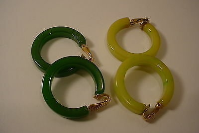 Vintage  BAKELITE Earrings GREENS  Clip Ons HOOPS