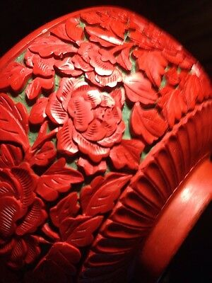 Pair FINE VINTAGE CHINESE CINNABAR LACQUER Bowls