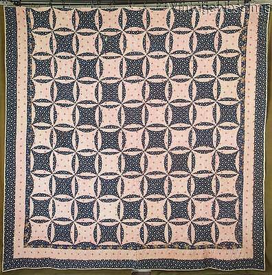 Early One! Indigo Blue & Double Pink ANTIQUE c1860 Civil War QUILT 85x85""
