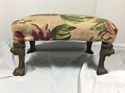 Antique Lion Head & Lion Claw Foot Foot Stool Late 1800's