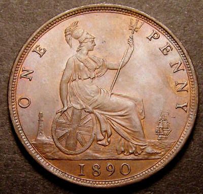 1890 Choice UNC Queen Victoria Penny  CGS 80 ex-MS64  ** CGS 2nd Finest Known **
