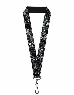 Marvel Comics Venom Close Up Elastic Stretch Lanyard Badge Id Holder Keychain