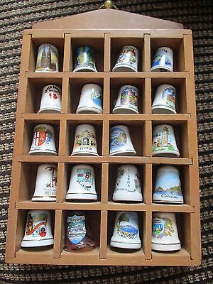 20 Assorted Place Thimbles With Display Case
