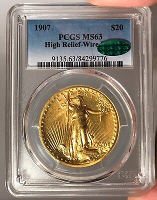 1907 $20 PCGS MS 63 CAC St. Gauden's Gold Double Eagle - High Relief - Wire Edge