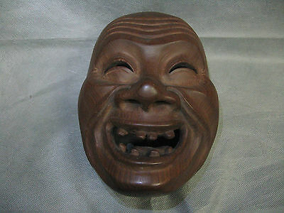Real Japanese Kagura Mask Okina Old Man Smile Face Teeth made in Showa Era