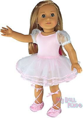 "Ballet Outfit Pink Nutcracker Dance +Slippers fit 18"" American Girl Doll Clothes"