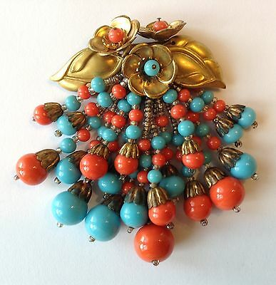 Vintage Early Miriam Haskell Coral & Turquoise Bead Flower Dangling Brooch
