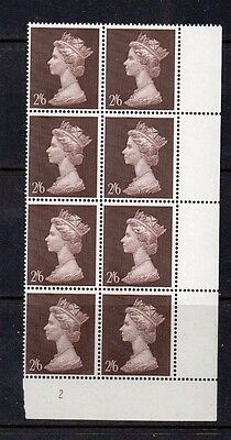 GB 1969 Machin 2/6  MNH marginal block of 8 with cylinder number