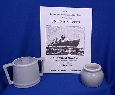 SS UNITED STATES HALL Gray Sugar Bowl and Lid Made In USA EXC
