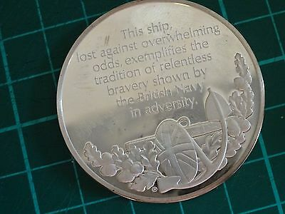 RARE .925 STERLING SILVER Loss Of The HMS Kelly The Battle Of Crete Coin