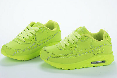 Girls Boys Trainers Green Neon Runner Lace up Shoes  SIZES 11.5-2.5