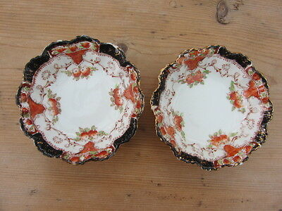"""2 x VINTAGE SUTHERLAND PIN DISHES - WHITE/ORANGE/NAVY - Approx. dia. 3 3/4""""."""